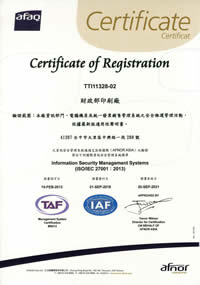 The certificate of ISO 27001 Information security management systems